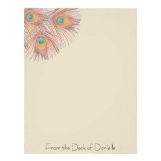 Peacock Feathers Personalized Letterhead