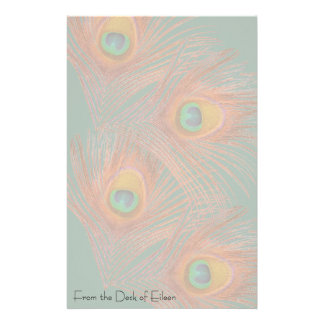 Peacock Feathers Personalized Stationery