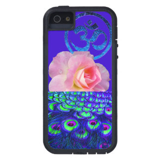 PEACOCK FEATHERS, PINK ROSE, & BLUE OM - AWESOME! iPhone 5 COVER