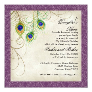 Peacock Feathers Purple Damask Quinceanera Party Card