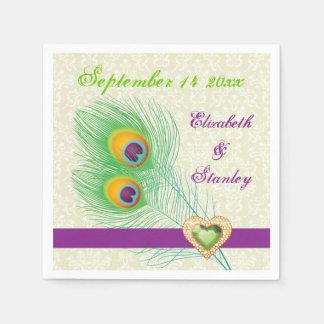 Peacock feathers purple, green jewel heart wedding paper napkin