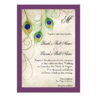 Peacock Feathers Purple Simple Wedding Invitation