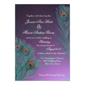 Peacock Feathers Purple Wedding 5x7 Paper Invitation Card