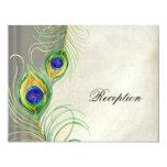 "Peacock Feathers Reception Invitation Card 4.25"" X 5.5"" Invitation Card"