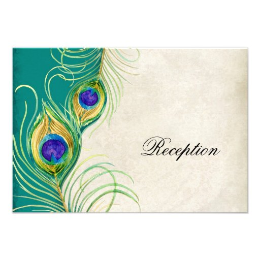 Peacock Feathers Reception Invitation Card