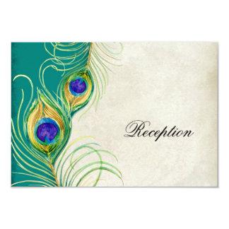 "Peacock Feathers Reception Invitation Card 3.5"" X 5"" Invitation Card"