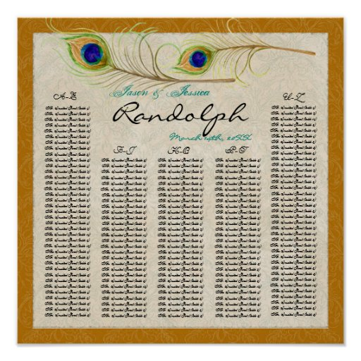Peacock Feathers Reception Table Seating Chart Poster