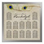 Peacock Feathers Reception Table Seating Chart Posters