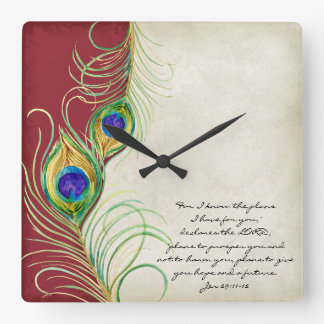 Peacock Feathers Red Damask Christian Scripture Square Wall Clock
