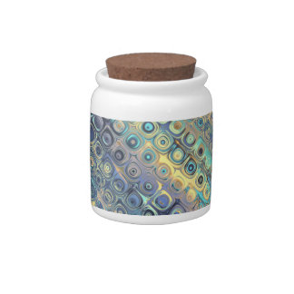 Peacock Feathers Retro Abstract Canister Candy Jar