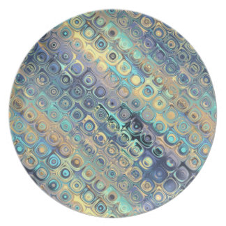 Peacock Feathers Retro Abstract Melamine Plate