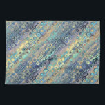 """Peacock Feathers Retro Abstract Towel<br><div class=""""desc"""">The color scheme - teal, aqua, blue, gold - and the shapes - rounded squares, squarish circles - in sweeping, diagonal stripes certainly call to mind the tail feathers of a peacock while creating a retro, abstract look. This design is one of several in a mix-and-match series, in which the...</div>"""