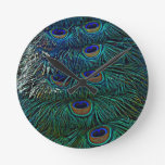 Peacock Feathers Round Clocks