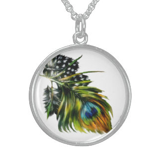 """""""Peacock Feathers"""" Round Pendant Necklace"""