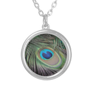 Peacock Feathers Round Pendant Necklace