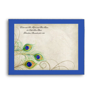 Peacock Feathers Royal Blue Wedding Invitation 5x7 Envelope