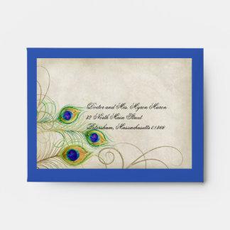 Peacock Feathers Royal Blue Wedding RSVP Response Envelope