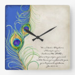 Peacock Feathers Royal Damask Christian Scripture Square Wall Clock at Zazzle