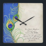 """Peacock Feathers Royal Damask Christian Scripture Square Wall Clock<br><div class=""""desc"""">NOTE: You can change out the text to your own personal life scripture or favorite bible verse using the template field. DESIGN COLLECTION: This is a coordinating Home modern chic decor decorative analog clock for the contemporary, sophisticated &quot;Peacock Feathers&quot; wedding ensemble. Featuring stylized, hand watercolored Peacock feathers swirling across the...</div>"""
