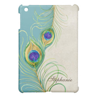 Peacock Feathers Royal Damask Personalized Names Case For The iPad Mini