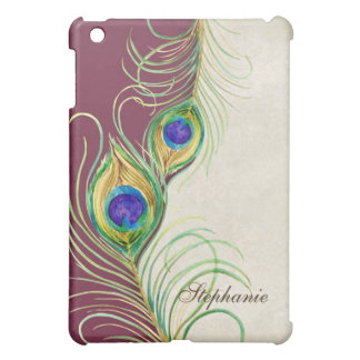 Peacock Feathers Royal Damask Personalized Names Cover For The iPad Mini