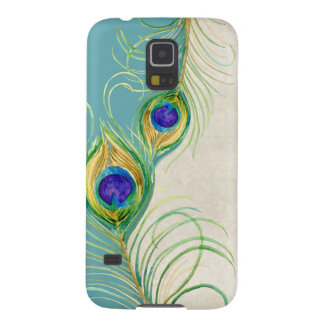 Peacock Feathers Royal Damask Personalized Names Galaxy S5 Covers