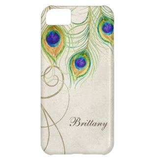Peacock Feathers Royal Damask Personalized Names iPhone 5C Case