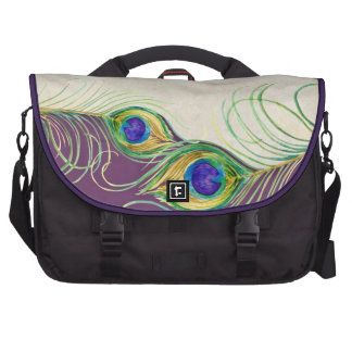 Peacock Feathers Royal Damask Personalized Names Laptop Bags