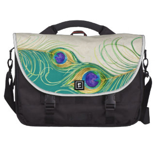 Peacock Feathers Royal Damask Personalized Names Bags For Laptop