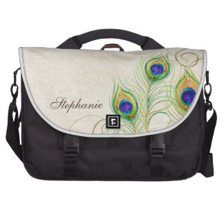 Peacock Feathers Royal Damask Personalized Names Laptop Commuter Bag
