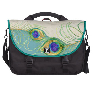 Peacock Feathers Royal Damask Personalized Names Laptop Bag