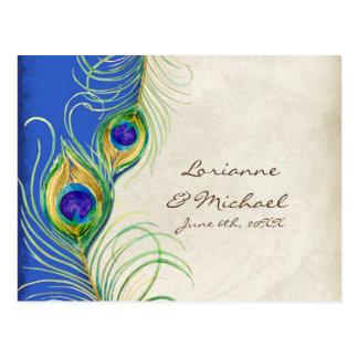Peacock Feathers Royal Damask RSVP Response Card Postcards