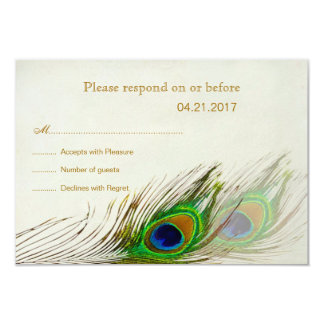 Peacock feathers RSVP Invitation