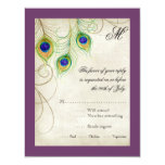 Peacock Feathers RSVP Response Card Personalized Invitations