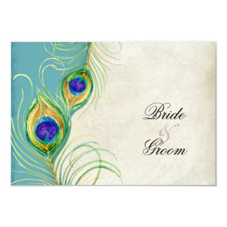Peacock Feathers RSVP Response Cards Announcement