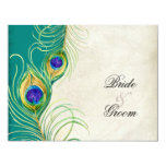 """Peacock Feathers RSVP Response Cards 4.25"""" X 5.5"""" Invitation Card"""