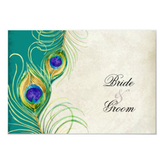 Peacock Feathers RSVP Response Cards Personalized Invites