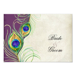 """Peacock Feathers RSVP Response Cards 3.5"""" X 5"""" Invitation Card"""