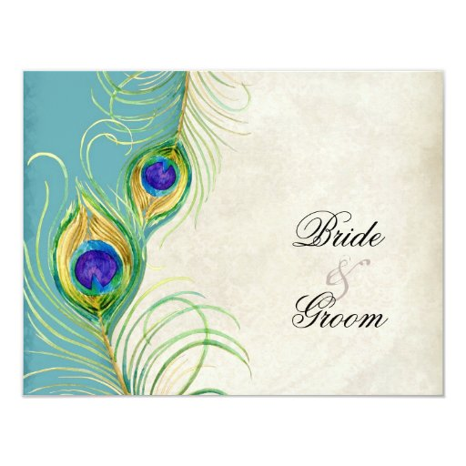 Peacock Feathers RSVP Response Cards Personalized Announcement