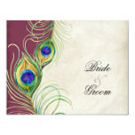 Peacock Feathers RSVP Response Cards Invitations