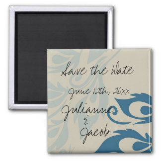 Peacock Feathers Save the Date 2 Inch Square Magnet