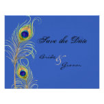 Peacock Feathers Save the Date Blue Invite Cards