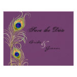 Peacock Feathers Save the Date Invite Cards