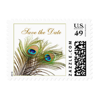 Peacock feathers Save the Date Postage Stamp