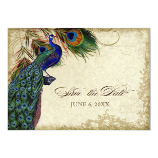 Peacock & Feathers Save the Date Tea Stained 5x7 Paper Invitation Card