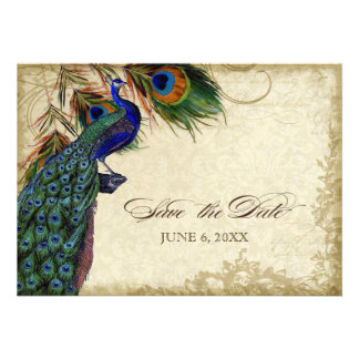 Peacock & Feathers Save the Date Tea Stained Personalized Invitation