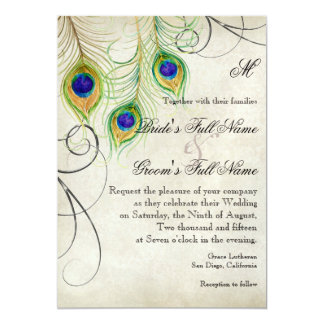 Peacock Feathers Silver Damask Wedding Stationery Card
