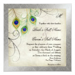 """Peacock Feathers Silver Damask Wedding Stationery 5.25"""" Square Invitation Card"""