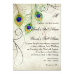 """Peacock Feathers Silver Damask Wedding Stationery 5"""" X 7"""" Invitation Card"""