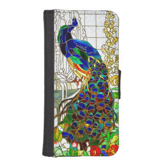 Peacock Feathers Stained Glass Window Art Wallet Phone Case For iPhone SE/5/5s